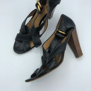 Chloe Black Leather Stacked Heel Strappy Sandals